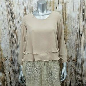 Zara tan tiered chiffon 3/4 sleeve blouse